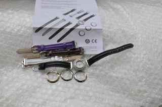 Vario - Sehr Schöne Damen Armbanduhr.  Mit 4 Ambänder U.  4 Lünetten Variationen Bild