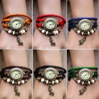 Frauen Retro Weinlese - Eulen Während Weave Wrap Lederarmband Quarz - Armbanduhr C8 Bild
