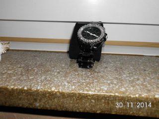 Armbanduhr Zifferblatt Strass Armband Schwarz Keramik Kunststoff Bild