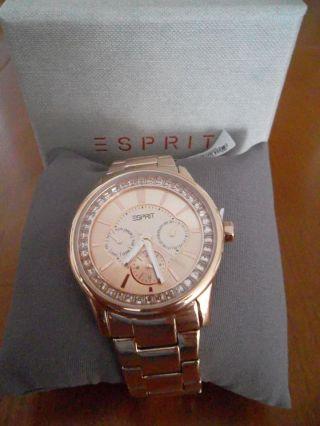 Esprit Damenarmbanduhr Chronograph Edelstahl In Rose Mit Etikett Bild