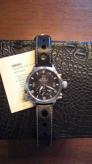 Ingersoll,  Schwarze Herren Uhr,  Bison Nr.  7,  Automatik,  Modell In6903,  Wie Bild
