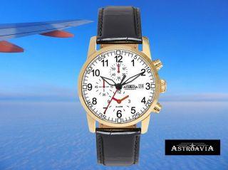 Astroavia - Pilot K9 Klassik Alarm Chronograph 7 - Zeiger Herrenuhr Edelstahl Gold Bild