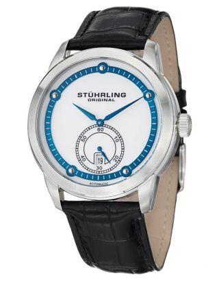 Herren Uhr Stuhrling 720 01 Silber Freizeit Automatisch Circuit Datum Bild