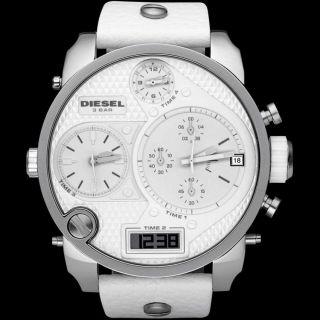 Diesel Herren Uhr Chronograph Weiß Silber Leder Armbanduhr Marken Uhr Xxl Dz7194 Bild