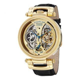 Armbanduhr Herren Stuhrling 590 333531 Emperor Automatik Dual Zeit Leder Band Bild