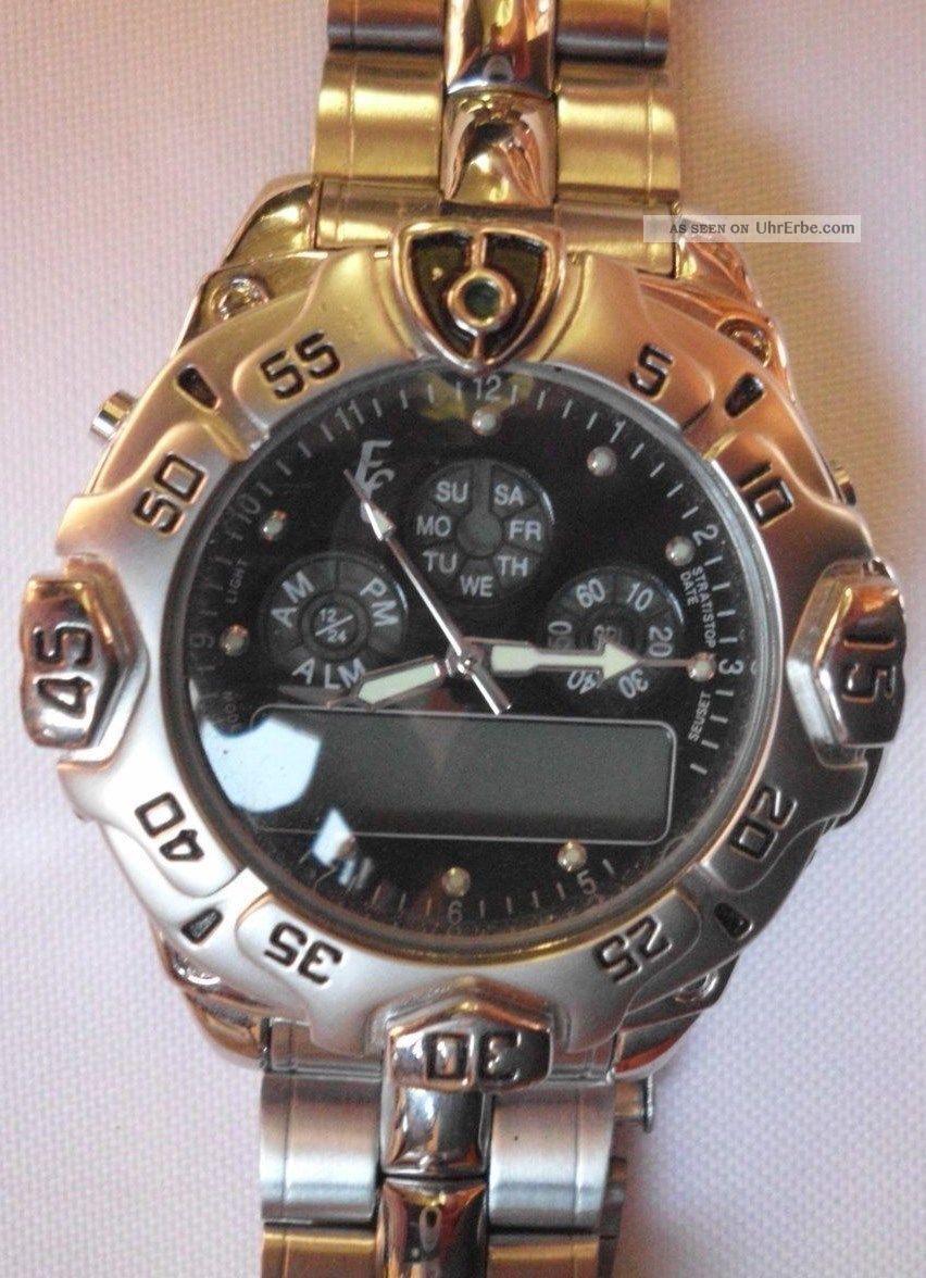 Eric Chevillard Herrenuhr,  Edelstahl,  Anzeige Analog,  Digital, Armbanduhren Bild