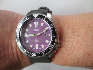 Seiko Automatic Purple Dial Scuba Divers Watch 7002 Bild
