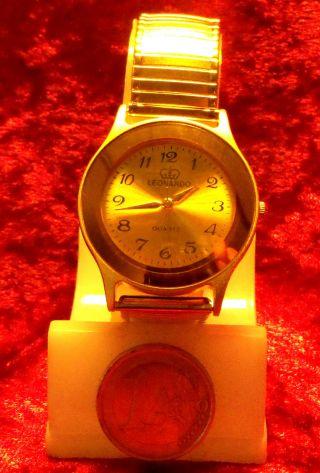 Schöne Armbanduhr Leonardo Mit Flexiband Herren Oder Damen Goldfarben Nr.  213 Bild