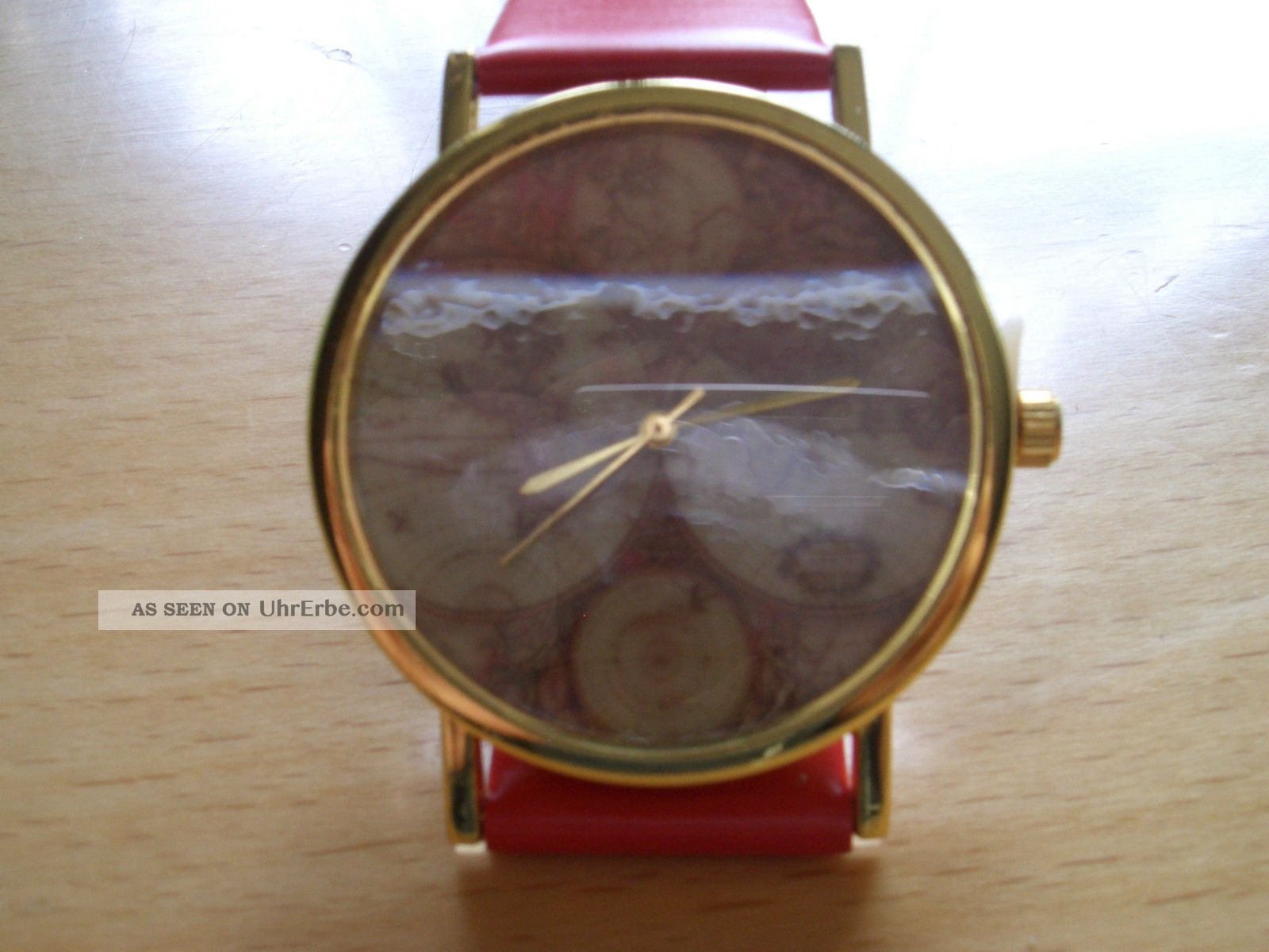 Damenuhr Antik Herrenuhr Weltkarte Retro Rot Armbanduhr Gold Unisex Uhr SjqUzVGLMp