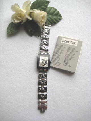Swatch Traumhafte Damen Uhr.  RaritÄt.  Edelstahlsilber /schwarz Mit Blumenranken Bild