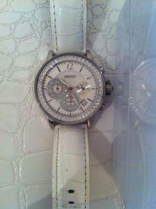 Dkny Damenuhr Uhr Weiss Lederarmband Bild