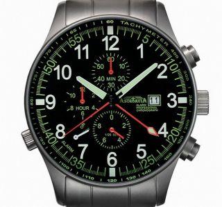 Astroavia Professional Chronograph Pilot P 7 S Alarm Uhr Fliegeruhr Mit Video Bild