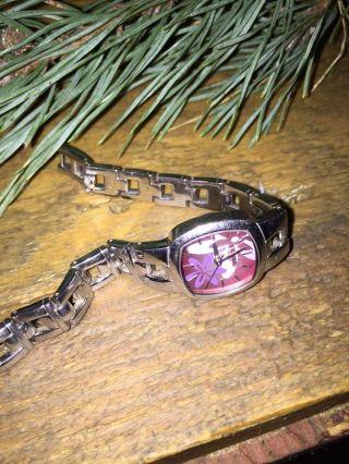 Fossil Damen Armanduhr Pink Blumen Silber Analog Quarz Bild