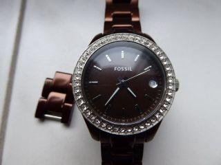 Fossil Damenuhr Es 2963 Armbanduhr Braun Bild