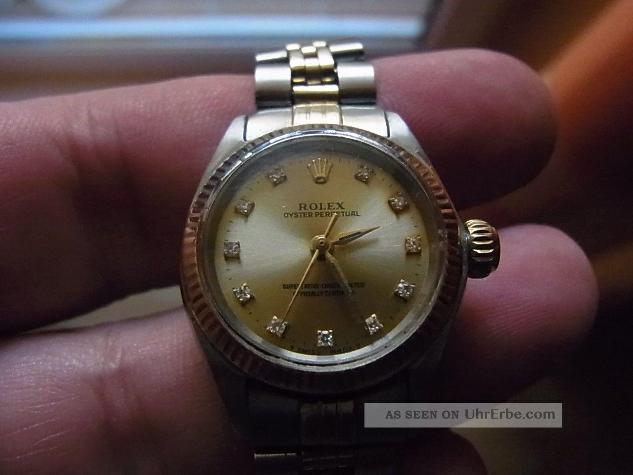 damen luxusuhr rolex oyster no date diamond dial v 1969 stahl gold. Black Bedroom Furniture Sets. Home Design Ideas
