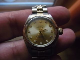 Damen Luxusuhr Rolex Oyster No Date Diamond Dial V.  1969 Stahl/gold Bild
