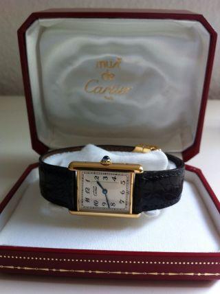 Cartier Tank Mit Faltschließe Und Box Herrenmodell Bild