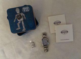 Fossil Damen Uhr Armbanduhr Silber Blau Edelstahl In Ovp Bild