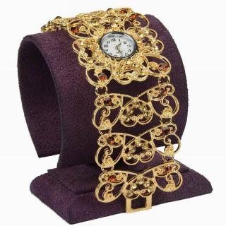 Kristall Blume Herz Diamante Link Armband Kleid Mode Quartz Armbanduhr Uhren Bild