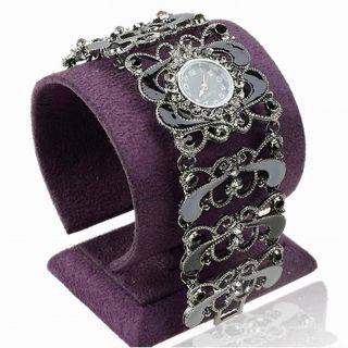 Kristall Hollow Schward Steel Quartz Link Rund Mode Armbanduhr Armreif Uhren Bild