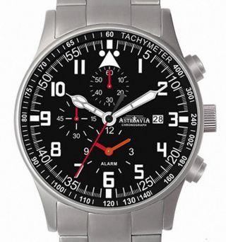 Astroavia - 7 Zeiger - Alarm Chronograph H 4 Fliegeruhr Herren Uhr City Watch Bild