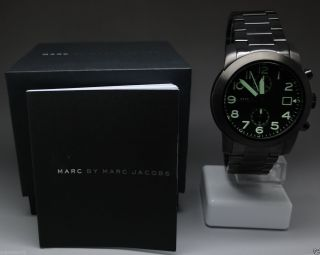 Marc Jacobs Mbm5032 Chronograph Larry Black Steel / & Box Np 299€ Bild