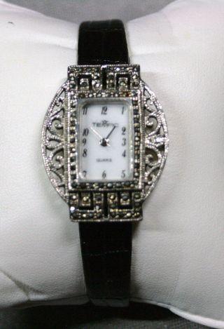 1 Tempic Armbanduhr Art Deco Schwarzes Band Silberfarbenes Gehäuse Mit Straß Bild