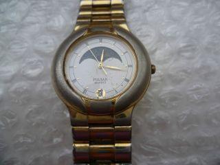 Pulsar Seiko.  Mondphasen/datum Quarz.  Stahl/gold Faltschließe.  Herren Uhr Bild