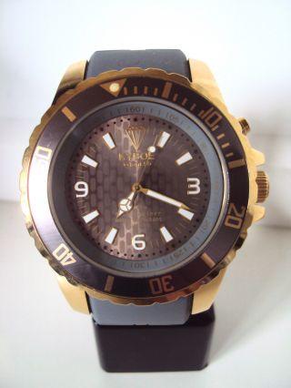 Kyboe Gold Series Kg 005 - 55 Grau Quarz Uhr 10 Atm Uvp 229€ Led Bild