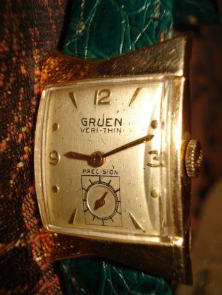 Ältere 14 K - Gold Armbanduhr - Gruen - Verti - Thin Bild