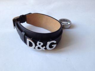 D&g Dolce&gabbana Uhr Damen Armbanduhr Schwarzes Lederarmband Mit Uhr - Anhänger Bild