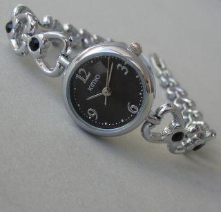 Kimio Fashion Armbanduhr Damen Uhr Trend Edelstahl Strass Herzen Schwarz B - Ware Bild