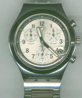 Herrenuhr Swatch Edelstahl Chronograph Edelstahlarmband Herren Uhr Guter Zust Bild