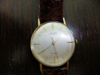 Herren Armbanduhr Gold Arctos Pforzheim Handaufzug 17 Rubis Bild