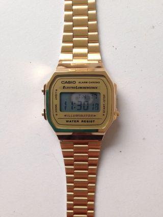 Casio Retro Klassiker Armbanduhr Unisex Digitaluhr Goldfarben A168wg - 9ef Bild