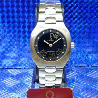 Retro Omega Seamaster Polaris Stahl & 750 Er Gold Intarsien Unisex Armbanduhr Bild