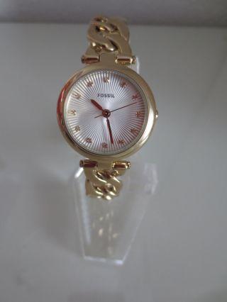 Fossil Damen Armband Uhr Es3391 Olive Uhren Edahlstahl Gold Damenuhr Bild