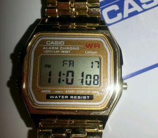 Retro Quartz Armbanduhr Uhr Stoppuhr Wecker Watch Gold Unisex Bild