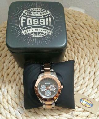 Fossil Damenuhr Rose & Silber Es3030 Bild