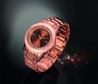 "Modische Damen Armbanduhr ""elegance"" In Goldrose Kupfer Yves Rocher Schmuckuhr Bild"