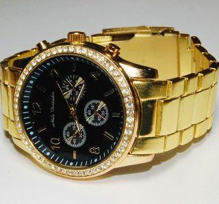 Große Armbanduhr Nele Fortados Gold Farben Retro Strass Bild
