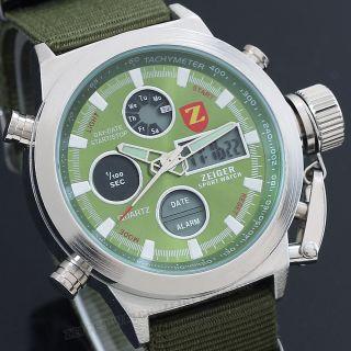 Herren Uhr Grün Alarm Licht Chronograph Wasserdicht Nylon Herren Armbanduhr Bild