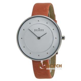 Damen Armbanduhr Skagen Skw2135 Denmark Zifferblatt Weiß Pink Leder Armband Bild