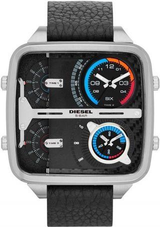 Diesel Uhr Dz7283 Square Daddy Mit Gravur & Schwarzes Zifferblatt Mit 4 Zeit Bild