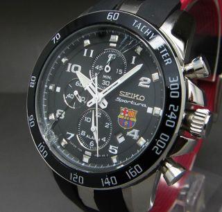 Seiko Sportura Fc Barcelona Alarm Tachy Chrono Datum Stoppuhr Uhr Bild