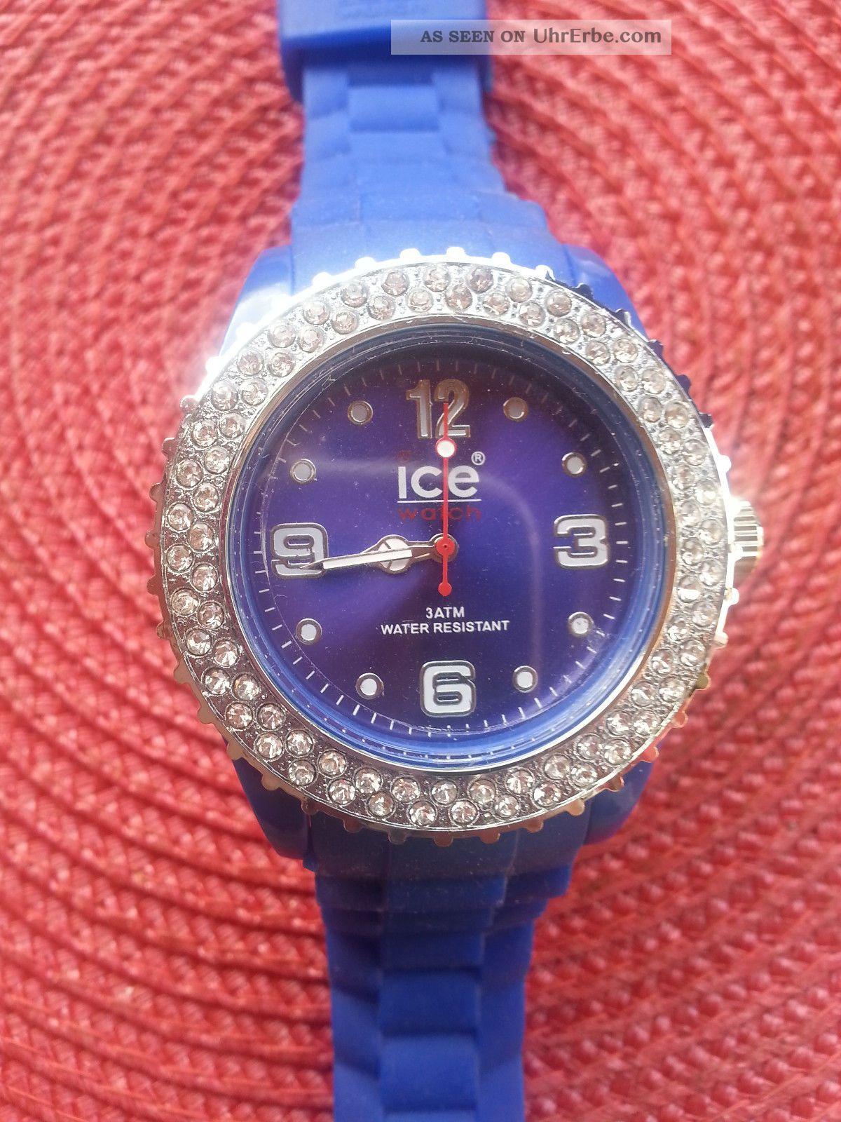 ice watch hammersch ne blaue uhr mit strass verpackung top. Black Bedroom Furniture Sets. Home Design Ideas