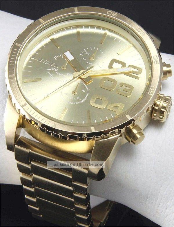Diesel Herrenuhr Chronograph 46mm Gold Xl Armbanduhr Dz4268 Armbanduhren Bild