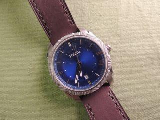 Fossil Herrenuhr Fs4858 / Herren Uhr Leder Braun / Blau Datum Silber Bild