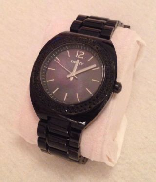 Dkny Damen Uhr Armbanduhr Strass Schwarz Perlmutt Bild