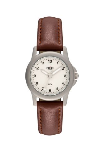 Neo Watch Pure Silver Damenuhr Armbanduhr Lederarmband Silber N5 - 006 Bild